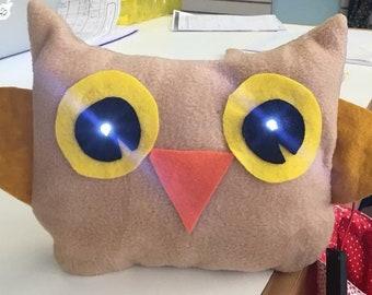 LED Light-Up Owl Plushie KIT:  Fabric, PDF Pattern & Tutorial