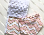 Baby-Girl-Bandanna-Drool-Bibs-Gold-Pink-Chevron-Minky-Newborn-Accessories-Nursery-Shower-Birthday-Personalized-Gifts