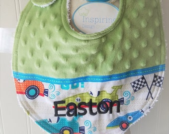 Baby-Bibs-Personalized-Toddler-Boys-Bib-Cars-Blue-LIme-Minky-Dot-Drool-feed-Newborn-essentials-accessories-Nursery-Shower-Birthday-Gifts