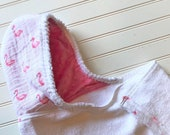 Baby Hooded Towels-Girls-Girl-Towel-Pink Flamingos-Cotton-Muslin-Hood-Beach-Swim-Bath-Kids-Terry-Cloth-Cover Up-Wash-Cloth-Gift Set-Options