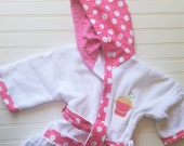 Personalized-Bath-Robes-Girls-Pink-Polka-Dots-Pail-Shovel-Bathrobes-Beach-Towels-Hooded-Swim-Suit-Terry-Cover Up-Baby-Toddler-Kids-Gifts