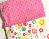 Personalized-Baby-Blanket-Flower-Pink-Minky-Dot-Quilts-Stroller-Receiving-Swaddling--Girls-Crib-Nursery-Newborn-Toddler-Shower-Birthday-Gift
