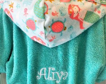 Girls -Bath-Robes-Mermaid-Aqua-Bathrobes-Hooded-Terry-Towels-Swim-Suit-Cover  Up-Shower-Birthday-Holiday-Baby-Kids-Teen-Gifts 33ef0f5dd