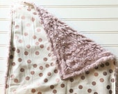 Personalized-Minky-Baby-Blanket-Girls-Cuddle-Lux-Lama-Sparkle-Rose-Gold-Dots-Pink-Lovey-Quilts-Stroller-Receiving-Swaddling-Nursery-Gifts