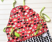 Kids-Aprons-Sushi-Red-Black-Lime-Chef-Art-Cooking-Kitchen-Baking-Play-Dough-Summer-Garden-Smocks-Holiday-Birthday-Toddler-Gifts