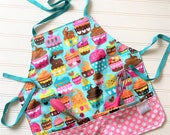Kids-Aprons-Cupcakes-Pink-Dots-Chef-Art-Cooking-Kitchen-Baking-Play-Dough-Summer-Garden-Smocks-Holiday-Birthday-Toddler-Gifts