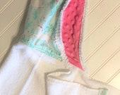 Personalized-Kids-Towels-Baby-Girls-Hooded-Unicorn-Aqua-Pink-Minky-Dot-Bath-Beach-Swim-Suit-Cover-Up-Terry-Swimwear-Toddler-Shower-Gift