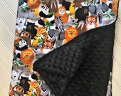 Personalized-Minky-Baby-Blanket-Zoo-Jungle-Animals-Black-Lovey-Quilts-Stroller-Receiving-Swaddling-Boys-Crib-Nursery-Newborn-Toddler-Gifts