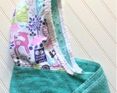 Baby Hooded Towels-Girls-Girl-Towel-Forest-Owls-Purple-Minky Dot-Beach-Bath-Kids-Terry-Swim-Suit-Cover Up-Wash Cloth-Gift Set-Options