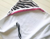 Baby Hooded Towels-Girls-Girl-Bath-Towel-Kids-Zebra-Pink-Minky-Dots-Savvy Baby Goodies-Beach-Terry-Swim-Wash-Cloth-Spa-Gift-Set-Options