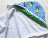 Baby Hooded Towels-Boys-Blue-Space-Rocket-Hooded-Beach-Swim-Bath-Kids-Toddler-Terry-Cloth-Cover Up-Wash-Cloth-Shower-Birthday-Holiday-Gifts