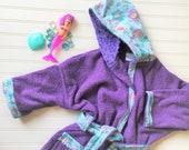 Personalized-Girls-Bath-Robes-Bathrobe-Mermaid-Princess-Purple-Minky-Hooded-Towels-Swimwear-Terry-Beach-Cover-Up-Baby-Toddler-Kids-Teen-Gift