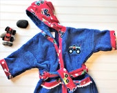 Personalized-Kids-Bath-Robes-Bathrobes-Monster-Trucks-Red-Blue-Green-Hooded-Towels-Swimwear-Terry-Beach-Cover-Up-Baby-Toddler-Kids-Gift