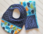Baby-Bibs-Burp-Set-Personalized-Boys-Whales-Blue-Minky-Dot-Drool-feed-Newborn-accessories-Toddler-Shower-Birthday-Gifts