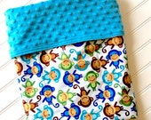 Personalized-Baby-Blanket-Boys-Monkey-Boy-Blue-Quilts-Stroller-Receiving-Swaddling-Minky-Boys-Crib-Kids-Nursury-Room-Newborn-Toddler-Gift