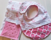 Baby-Bibs-Burp-Set-Personalized-Girls-Pink-Flamingo-Cotton-Muslin-Minky-Dot-Drool-feed-Newborn-accessories-Toddler-Shower-Birthday-Gifts