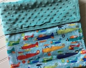 Personalized-Baby-Blanket-Plush-Air-Planes-Aqua-Chevron-Quilts-Stroller-Receiving-Swaddling-Minky-Boys-Crib-Nursury-Newborn-Toddler-Gift