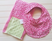 Baby-Bib-Personalized-Toddler-Drool-Feeding-Bibs-Girls-Pink-Cheetah-Minky-Dot-Newborn-essentials-accessories-Nurssery-Shower-Birthday-Gifts