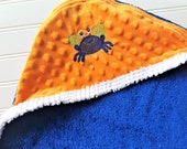 Baby Hooded Towels-EMBROIDERY-Boy-Blue-Crab-Terry-Minky Dot-Bath-Beach-Swim-Suit-Cover-Up-Swimwear-Child-Toddler-Shower-Gift