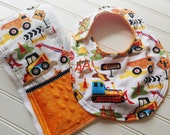 Baby-Toddler-Bib-Bibs-Construction-Tractors-Trucks-Mnky Dot-Reverseable-Snap-Enclosure-Designed-By-Inspiringdesignstudio.com