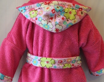 Girls-Bath-Robes-Girl-Robe-Pink-Flowers-Bathrobes-Childrens-Beach-Hooded- Swim-Suit-Terry-Cover Up-Baby-Toddler-Kids-Gift 0807911d9