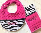 Baby-Bib-Girl- Personalized-Bibs-Zebra-Print-Rocker-Pink-MInky Dot-Terry-Feeding-Mondern-Nursery-accessories-Shower-Birthday-Holiday-Gifts