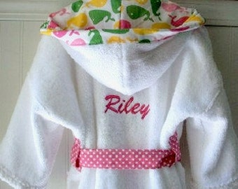 PERSONALIZED-Child-Robes-Girls-Bath-Robe-Girl-Pink-Whale-Bathrobes-Beach- Sleepwear-Sweet-Dreams-Hooded-Terry-Swim-Suit-Cover-Baby Kids-2-6T c0a2b26a4