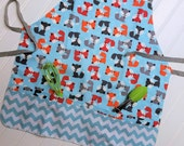 Kids-Aprons-Fox-Aqua-Chevron-Chef-Art-Cooking-Kitchen-Baking-Play-Dough-Garden-Apron-Smocks-Holiday-Birthday-Toddler-Gifts