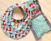 Baby-Bibs-Toddler-Boy-Boys-Bib-Fox-Blue-Gray-Minky-Dot-Newborn-accessories-Nursery-Shower-Birthday-Holiday-personalized-Gifts