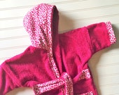 Girls-Robes-Personalized-Bath-Bathrobes-Big Cat-Leopard Print-Pink-Purple-Children-Beach-Hooded-Swim-Suit-Terry-Cover Up-Baby-Kids-Teen-Gift