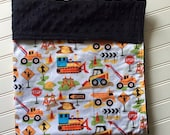 Personalized-Baby-Blanket-Plush-Construction-Black-Chevron-Quilts-Stroller-Receiving-Swaddling-Minky-Boys-Crib-Nursury-Newborn-Toddler-Gifts