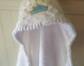 Baby Hooded Towels-EMBROIDERY-Boy-Blue-Prince-Crown-Minky Dot-Savvy Baby-Beach-Bath-Terry-Cover Up-Cloth-HOLIDAYS-Gift Set-Ready To Ship