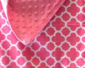 Personalized-Baby-Blanket-Plush-Pink-Quatrefoil-Chevron-Quilts-Stroller-Receiving-Swaddling-Minky-Girls-Crib-Nursury-Newborn-Toddler-Gifts