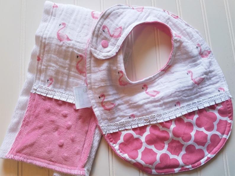 2c81b8a6 Baby-Bibs-Burp-Set-Personalized-Girls-Pink-Flamingo-Cotton-Mus | Etsy