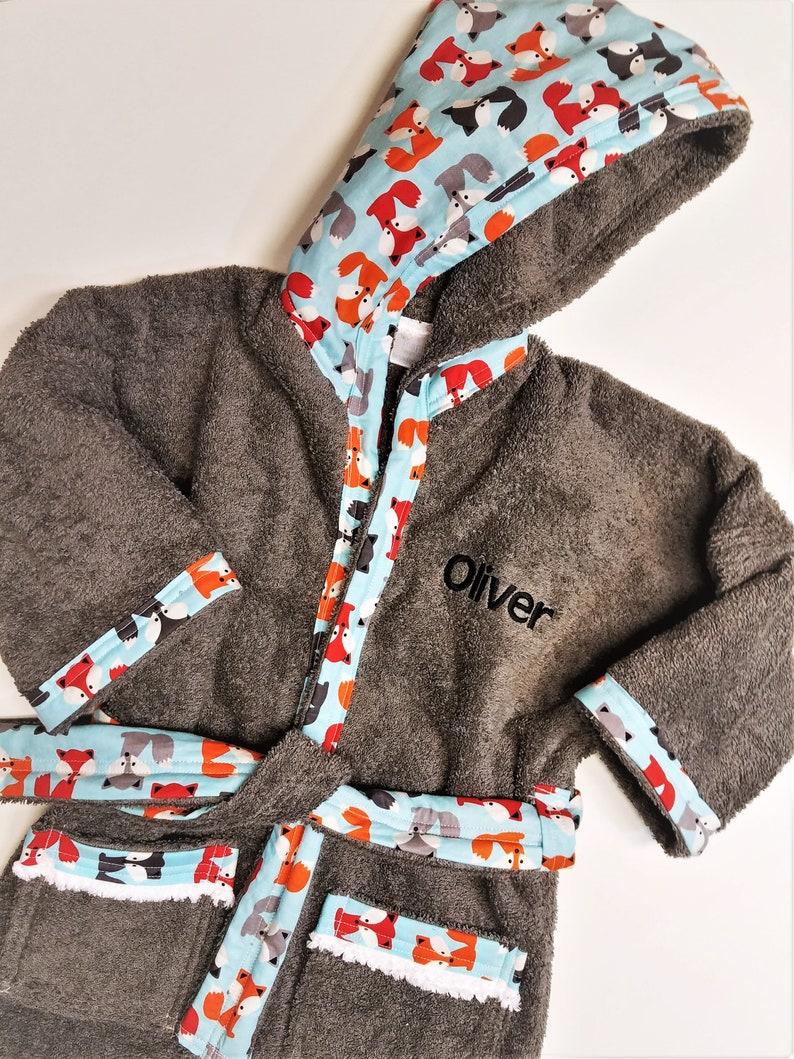 Boys-Bath-Robes-Boy-Robe-Fox-Gray-Bathrobes-Childrens-Spa-Beac  a83700453