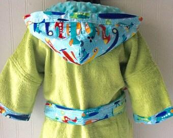 PERSONALIZED-Kids-Robe-Boys-Robes-Bath-Swim-Sleepwear-Jet-Air-Planes-Children-Bathrobes-Beach-Hooded-Terry-Towel-Cover Up-Baby-Kids Robes