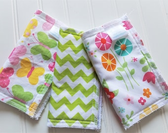Kids-Wash-Cloths-Terry-Cotton-Garden-Flowers-Chevron-Butterfly-Baby-Wipes-Food-Clean-Up-Art-Crafts-Girls-Bathroom-Towels-Toddler-Gift-Sets