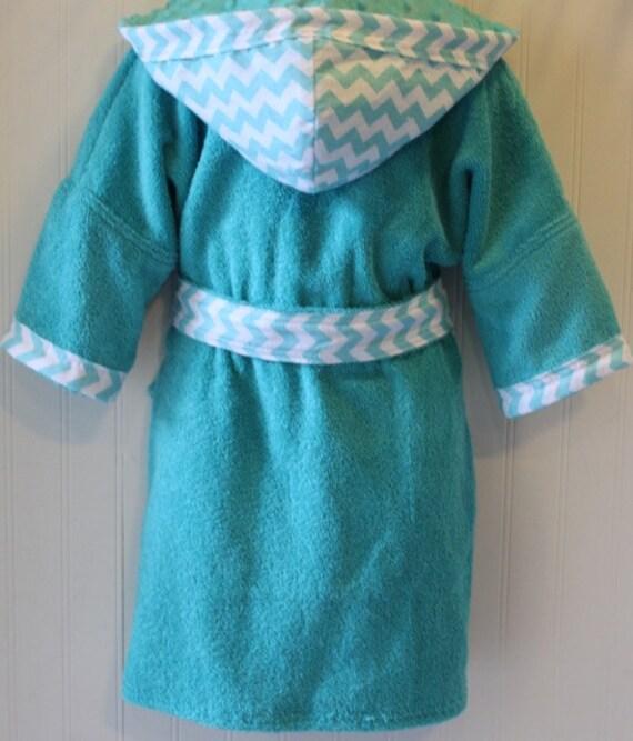 Kids-Hooded-Terry-Bathrobes-Robe-Aqua-Blue-Chevron-Children-Be  876158ca1