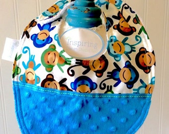 Baby-Bibs-Personalized-Toddler-Boys-Bib-Monkey-Blue-Minky-Dot-Drool-feed-Newborn-essentials-accessories-Nurssery-Shower-Birthday-Gifts