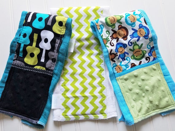 1 Only Toweling Back GREAT GIFT IDEA!! Aqua and Pink Burp Cloth Ponies