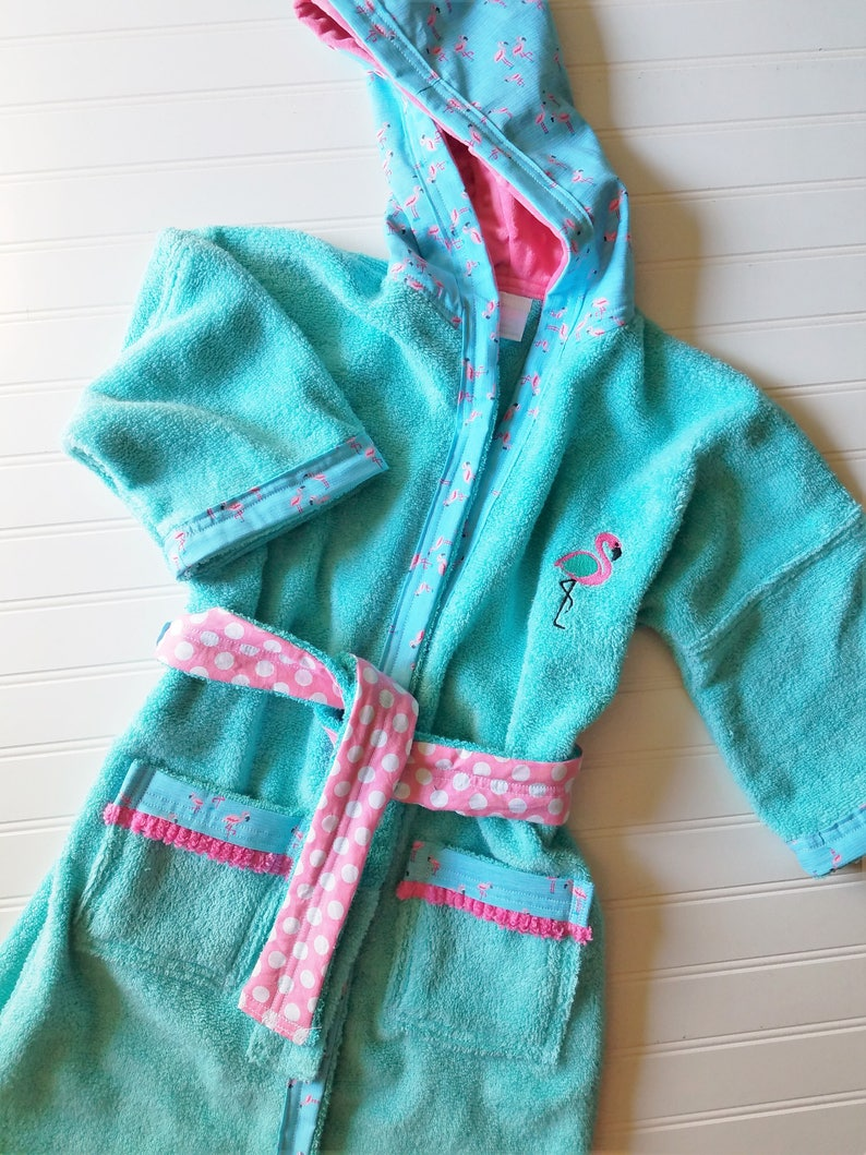 a3d69b9aee Personalized-Girls-Bath-Robes-Bathrobes-Pink-Flamingo-Children