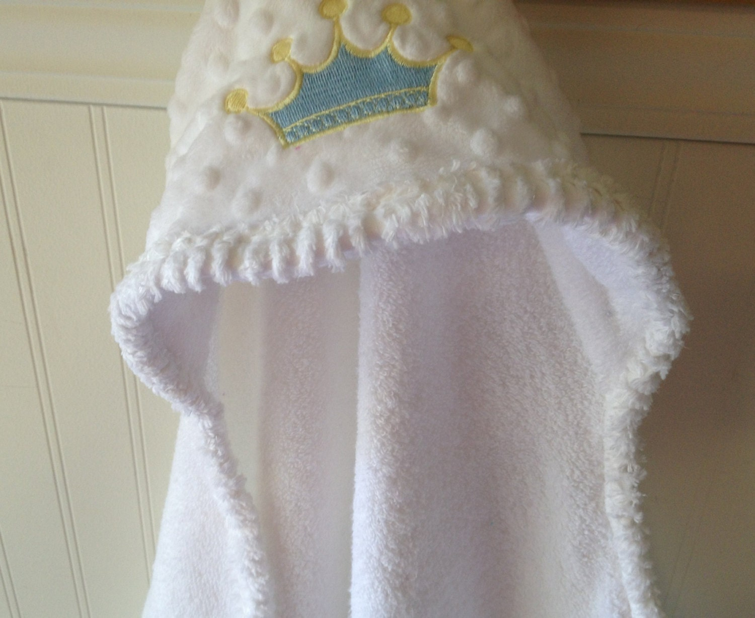 Baby Hooded Towels Embroidery Boy Blue Prince Crown Minky