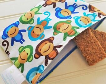 Snack-Bag-Monkey-Eco-Friendly-Reusable-Sandwich-Food-Toy-Art-Baby-Wet-Dry-Baggies-Travel-Lunch-Preschool-Back-To-School-Kids-Gift-Sets