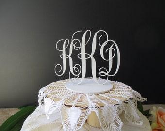 Cake Topper - Wooden Monogram Cake Topper  - Initials Cake Topper - Item 1635