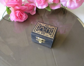 Wedding Ring Box Art Deco Gatsby Style  - Unique Personalized Ring Bearer Pillow Alternative - Item 1669