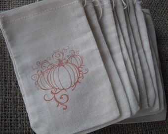 Favor Bags - SET OF 10 Fall Pumpkin Muslin Favor Bags Gift Bags or Candy Bags 3x5 - Item 1144