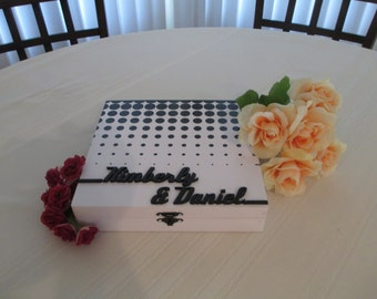 Rockabilly Wedding Guest Book Alternative Wedding Wood Box Personalized Set for 75 guests - Item 1682