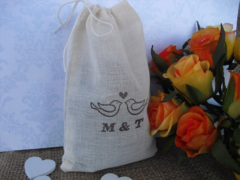 SET OF 10 Love Birds Personalized 4x6 Muslin Favor Bags Gift Bags or Candy Bags Favor Bags Item 1343