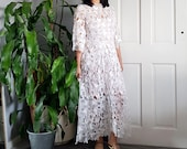 VINTAGE 1950s embroidered cutwork organza dress - XS - S