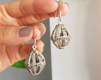 Vintage 90s marcasite caged ball drop earrings. Marcasite ball earrings.
